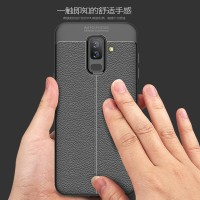 LEATHER AUTO FOCUS case Samsung A6 - A6 Plus 2018 casing cover kulit
