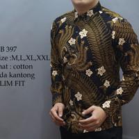 Jual Baju Batik Pria Slim Fit Modern Lengan Panjang D250 Murah