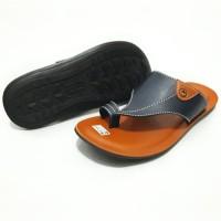 CLEARANCE SALE Sandal Sendal Laki Pria Kokop Jempol Q-Sock Navy/Tan