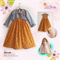 baju busana gamis muslim anak perempuan labella MS BD10(10-11th)