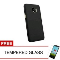 Case for Samsung J4 2018 - Slim Soft Case -Hitam Solid +Tempered Glass