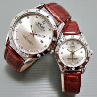jam tangan indonesia Jam Tangan Rolex Couple Leather Light Brown Silv
