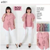 Blouse Big Size Rosi Baju Atasan Wanita Jumbo Model Cardigan