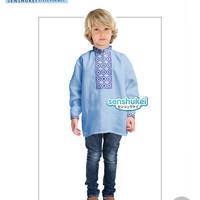 Baju Koko Anak Biru Import Bordir Linen 2 - 7 Tahun
