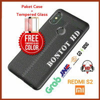 PAKET CASING CASE + TEMPERED GLASS FULL LAYAR HP XIAOMI REDMI S2 S 2