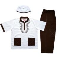 Baju Muslim Koko Anak Laki-laki Stelan Setelan Pendek Set Peci ZR1-4