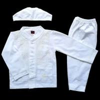 Top Promo SALE Stelan Setelan Baju Koko Muslim Anak Bayi Putih Polos