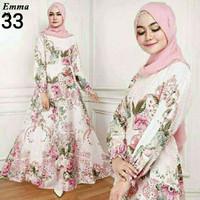 Maxi Emma Putih Baju Muslim Wanita Gamis Model Kekinian Terbaru