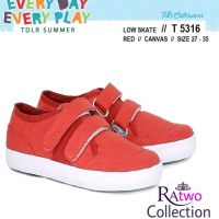 Sepatu Kets Anak Cowok / Sepatu Canvas Merah Tanpa Tali Casual Bandung