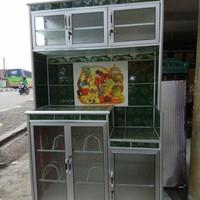 Lemari Rak Piring 3 Tiga Pintu Super Aluminium Keramik Cantik Murah