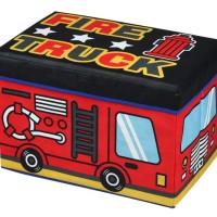 Kotak Penyimpanan Fire Truck Cartoon Foldable Storage Stool