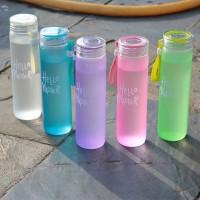 Botol Minum Kaca HELLO MASTER Free Pouch B72 - Botol Minum Tumblr