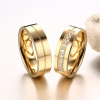 Cincin couple titanium diamond colour gold