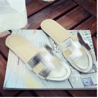 sandal H silver slipon flat summer flat simple lady slippers fse076