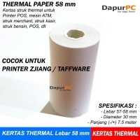Kertas Thermal Paper 58 x 30 mm Struk utk ATM Printer Kasir Zjiang