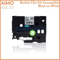 AIMO AZE TZe 251 24 mm Black On White Tape Label Brother Compatible