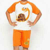 Kaos Pendek Baju Setelan Little M SET Abu Oranye Love Dino