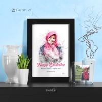 Desain Sketsa Pensil Wajah A4 SINGLE KADO WISUDA / NIKAH / ULANG TAHUN