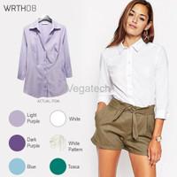 PROMO WRTH08 3 4 Sleeve Shirts Kemeja Wanita Atasan Baju Kerja