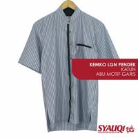 Kemeja Koko / Kemko Katun Abu Motif Garis (Size Kecil)