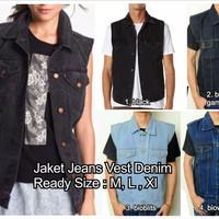 jaket jean jeans vest model levis denim unisex tanpa lengan