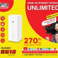 Huawei HOME B618 UNLOCK 4G Bundling Indosat UNLIMITED Internet 1 TAHUN