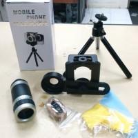 Lensa Tele Zoom 8x Clip Lipat universal + tripod untuk semua hp