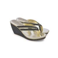 Sandal Wedges Wanita Hitam Cbr Six Muc 035 Asli Ori