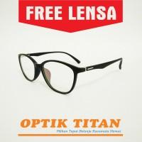 Harga frame kacamata minus baca pria wanita cat eye 8191 hitam doff | antitipu.com