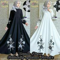 Gamis busui / Gamis hitam Murah / Dress motif bunga : Tsania dress