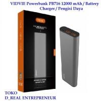 VIDVIE Powerbank PB716 12000 mAh / Battery Charger / Pengisi Daya
