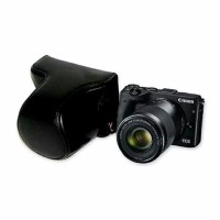 Leather Case Kamera Mirrorless for Canon EOS M6 Lensa Kita 15 45mm B