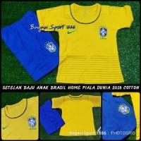 Setelan Baju Bola Anak Negara Brasil Brazil Home Piala JLOA10