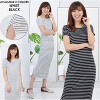Dress Wanita Anisa - Baju Kaos Salur - Pakaian Wanita - Long Dress