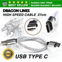 Dragon Line Kabel USB Type C Pendek 27cm Charger Cable