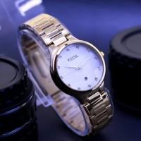 SALLE Jam Tangan Fossil Wanita Kaca Kristal Rantai Gold