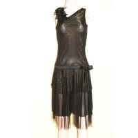 Flower Black Gold Party Dress Baju Gaun Pesta Wanita Remaja Import