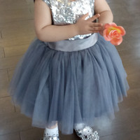 Gaun pesta anak / dress silver / dress blink / dress tutu
