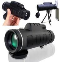 Teleskop Monocular Lensa Optik Zoom 40x60+Tripod+Klip untuk Handphone