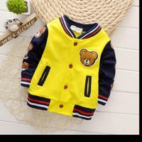 Jaket untuk bayi motif bear warna kuning dan navy