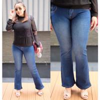 Celana Cutbray Jeans Wanita Bluewash Cutbray Bigsize Jeans Jumbo