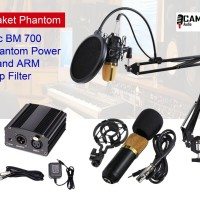 Mic BM 700 + Stand Arm + Phantom Power + pop Filter