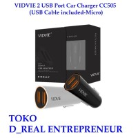 VIDVIE 2 USB Port Car Charger Mobil CC505 ( USB Cable included Micro )