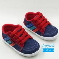 sepatu anak 1 2 3 4 tahun JEANS biru tali merah/sepatu anak keren QQM