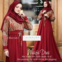 NASIFA DRES gamis longres batik katun primisima kombinasi wolfis baju