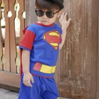 Dessan Baju Setelan Superhero Anak Laki-Laki Superman Bersayap NEW