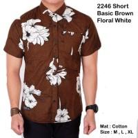 Kemeja pria baju batik floral abstrak pria lengan pendek brown floral