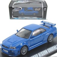 JUAL! GREENLIGHT FAST FURIOUS BRIAN 2002 NISSAN SKYLINE GT R BLUE