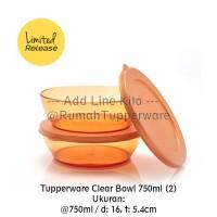 Tupperware Clear Bowl 750ml (2pcs) - Gold Mangkok Saji Mewah