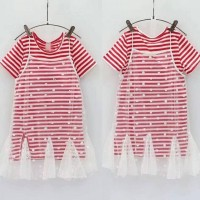 DRESS STRIP RED TULLE/BAJU DRES ANAK IMPORT/DRES STRIP MERAH ANAK